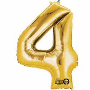 "Gold Number 4 Mini-Foil Balloon (16"" Air) 